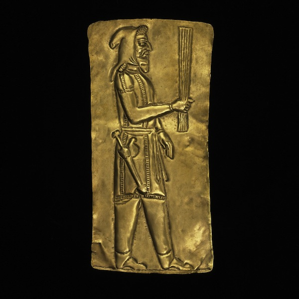 Gold plaque showing priest (Oxus treasure), c. 5-4th century BC, Achaemenid