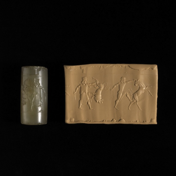 Chalcedony cylinder seal, 6th – 5th century BC, Neo-Elamite or Achaemenid