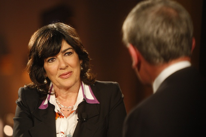 Christiane Amanpour and Neil MacGregor at IHF America's launch of the Cyrus Cylinder US Tour, 2013