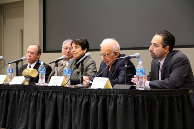 Panelists, left to right: Dr. Marc Gopin, Dr. Ahmad Karimi-Hakkak, Dr. Fatemeh Keshavarz, Dr. Shaul Bakhash, and Dr. Trita Parsi
