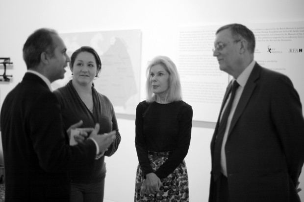 Left to Right: Nasser Manesh (General Manager, IHF America), Chelsea Dacus (Assistant Curator, MFA Houston), Frances Marzio (Chief Curator, MFA Houston), John Curtis (Keeper of the Department of Ancient Near East, British Museum). Photo by Mandana Fard / IHF America