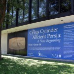 Huge exterior banner at MFA Houston capturing the attention of people who drive by. Photo: Mandana Fard / IHF America